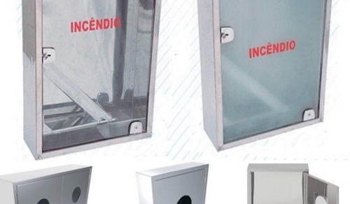 Caixas de hidrante, aço carbono, inox e fibra, ( embutir e sobrepor)