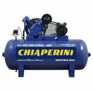 COMPRESSOR DE AR ALTA PRESSAO BLUE 175 LBS 20 PCM, 200 LITROS 20 PÉS MONOF. 220 V- TRIF. 380V- CHIAPERINI