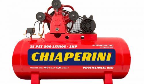 COMPRESSOR DE AR MEDIA PRESSAO RED 140 LBS 15 PCM, 200 LITROS , 15 PÉS MONOF. 220 V- MOD. 15-200 RED CHIAPERINI