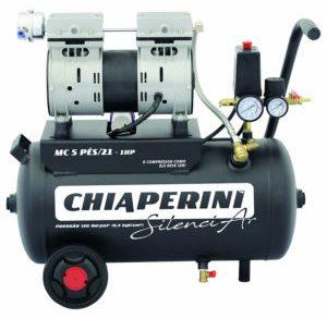 MOTO-COMPRESSOR AR SILENCIOSO, 5 PÉS 21 LITROS 01 HP MONOF. 220 V- CHIAPERINI