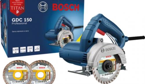 Serra Mármore a seco Bosch GDC 150 TITAN 1500W 127V, com 2 Discos Professional