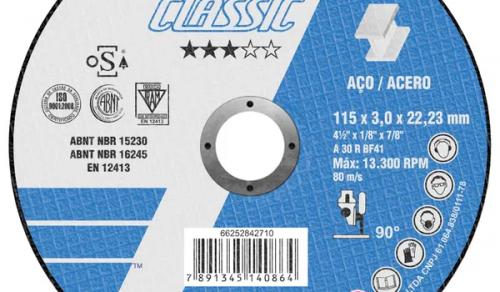 DISCO DE CORTE CLASSIC INOX 4'' 115 X 3.0 X 22,23 mm NORTON