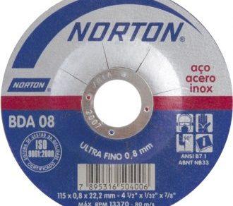 DISCO DE CORTE ULTRA FINO AÇO INOX METAL 4'' 115 X 0.8 X 22,2 mm NORTON